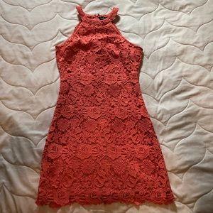 Pink flower design above knee dress